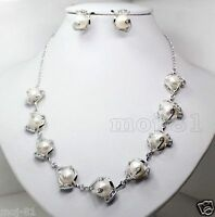 Natural 10-11mm White Baroque Freshwater Pearl Necklace Earrings Jewelry Set