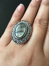 Black Mother Of Pearl And Marcasite 925 Sterling Silver Ring