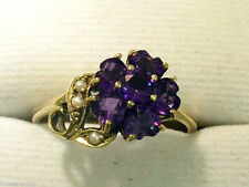 C687-Genuine 9K Yellow Gold Natural Amethyst & Pearl Hearts Blossom Ring size P
