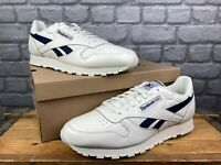 REEBOK MENS UK 13 EU 48.5 CLASSIC LEATHER CHALK WHITE NAVY TRAINERS RRP £70