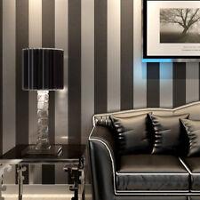 10m Modern Minimalist Non-woven Vertical Stripes Wallpaper Roll Black&Gray 5.3㎡