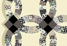 1 Yd. Double Wedding Ring Printed Quilt Fabric from Quilt Gate: Black/Cream