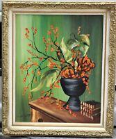 Mid Century Mod Orig Oil, H. Mertor, Floral, Framed, Probably Nevada Artist
