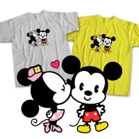 Disney Mickey Minnie Mouse Cuties Kiss Love Mens Womens Kids Unisex Tee T-Shirt