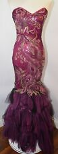 EUC Panopoly Strapless Mermaid Peacock Sequin Purple Pink Prom Evening Womens 6