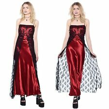 Vtg 90s Wine Red SHEER LACE Floral Mesh Prom Satin Maxi Dress Goth Gypsy Grunge