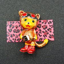 Tiger Fashion Brooch Pin Betsey Johnson Yellow Crystal Rhinestone