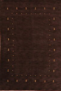 Bordered Gabbeh Hand-Knotted Wool Oriental Area Rug Contemporary Carpet 6'x9'