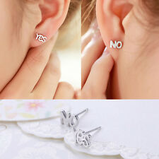 Women Yes & No 925 Sterling Silver Asymmetric Ear Stud Earrings Valentine's Gift