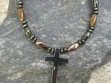 Black Magnetic Hematite Cross Necklace Strong Mens Womans Powerful 100% Copper n