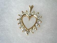 14k Yellow Gold Pendant H-I Diamond Cluster Open Heart 2.5g High Quality Stones!