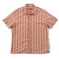 "Paul Smith Size XL Pink Yellow Orange Striped Short Sleeve Shirt Mens 42"""