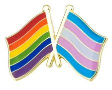 RAINBOW & TRANSGENDER FRIENDSHIP Crossed Flag Lapel Pin Badge  LGBT Gay Pride
