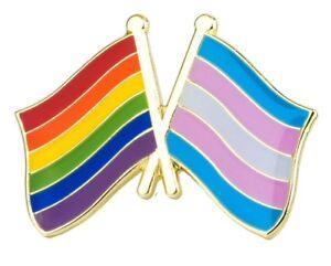RAINBOW & TRANSGENDER FRIENDSHIP Crossed Flag Lapel Pin Badge  LGBT Gay Pride
