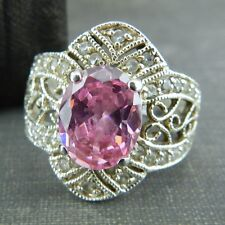 Vintage Style Sterling Silver Pink & CZ Ring - Size 6.5