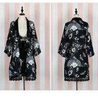 Lady Japanese Kimono Coat Yukata Outwear Long Bathrobe Tops Loose Retro Casual