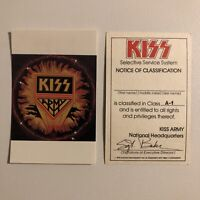 KISS ARMY - Selective Service System ID Membership Card 1978 Aucoin - RARE