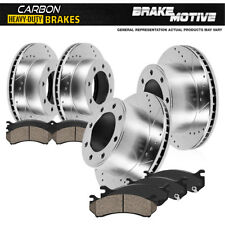 Front+Rear Drill Slot Brake Rotors +  Carbon Ceramic Pads Chevy GMC 2500 3500 HD