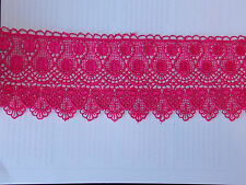 11cm pink embroidered guipure lace bridal wedding dress prom trim veil net