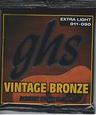 GHS VN-XL Vintage Bronze acoustic guitar strings, Extra Light .011-.050