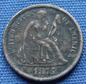 """*NICE LOOKING 1875-CC SEATED LIBERTY DIME """"CARSON CITY"""" - ESTATE FRESH*"""