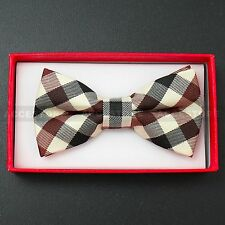 Children Kids Toddler Boys Girls Solid Colour Bowtie Pre Tied Bow Tie Party Prom Beige Blue Red Plaid