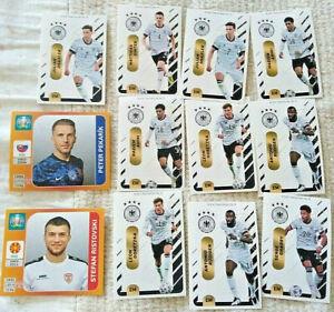 12 x EM 2020/21 Teamsticker Panini Ferrero von Deutschland Dänemark Ungarn