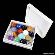 Gemstone, Mineral & Metal Marbles - 16 x 16mm Collectors Toy Glass Marble Set