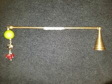 Two's Company Brass Candle Snuffer Antique Hinged with Beautiful Beads