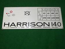 Harrison 140 Lathe Nameplate/Speed Chart. 45-1000rpm