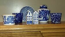 Lot of 7 Blue Porcelain & Glass – Urn, Vintage Cup, Hand Painted Holland Shakers