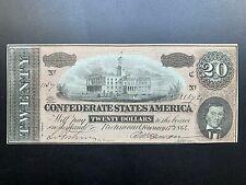 Exquisite 1864 Confederate States $20 Twenty Dollar Note Csa Civil War. 1864.