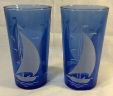 "2 Hazel Atlas Cobalt Blue Ships Sailboat 4 7/8"" 10 1/2 oz. Iced Tea Tumblers"