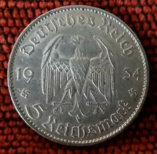 Germany Nazi 5 Reichsmark Church Swastika 1934 F .900 Silver Lot  346