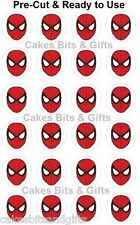 24 x SPIDERMAN MASK Edible Wafer Superhero Cupcake Toppers, Pre Cut Ready to Use