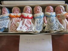 Antique hand crafted Half Doll Egg cosy Cosies dollsset of 6 1900-1920 see photo