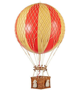 """Hot Air Balloon Model Red & White Wide Striped 13"""" Hanging Ceiling Home Decor"""