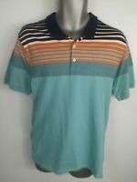 MENS NEXT BLUE STRIPED COLLAR SHORT SLEEVE POLO SHIRT TOP SIZE LARGE L