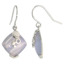 Sterling Silver Dangle Earrings w/ Diamond-shaped Blue lace Agate