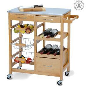 Wooden Metal Kitchen Serving Trolley Storage Cupboard Drawers Drink Rack Cart