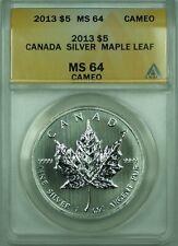 2013 $5 Canada Silver Maple Leaf ANACS MS-64 Cameo