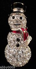 Signed Swan Swarovski Pave with Clear Crystal Snowman Brooch Pin