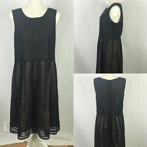 BNWT Next Black Dress With Beige Lining Cut Out Detail Size 14 Wedding Occasion