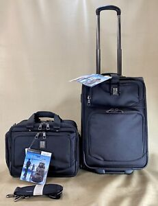 """TravelPro Flight Crew 5 Black Carry On Set 21"""" Rollaboard Suitcase & Flight Tote"""