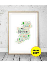 A4 Ireland Map Wordart Word Art Print Irish Sayings - can add your own words too