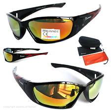 Sport Biker Sonnenbrille schwarz Orange verspiegelt Polarisiert Rennec 64 Box