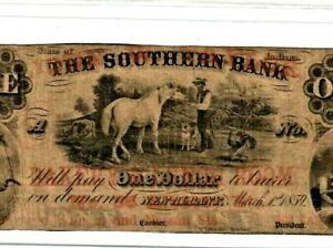 "$1 ""SOUTHERN BANK"" (INDIANA) 1800'S ""BEAUTIFUL HORSE NOTE""!! $1 ""SOUTHERN BANK""!"