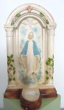 LG Vintage Antique Chalkware VIRGIN MARY MADONNA Statue SHRINE w Votive Holder