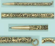 Small Antique Gilded Sterling Silver Mechanical Twist Out Pencil * Circa 1900