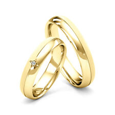 Matching Couple Wedding Rings His and Hers Diamond Set Bands Yellow Gold